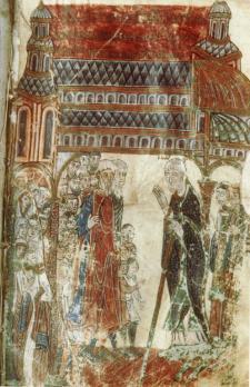 L'évêque Fulbert de Chartres prêchant dans sa cathédrale.